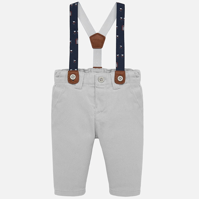 mayoral 2517 grey twill dress pants with suspenders