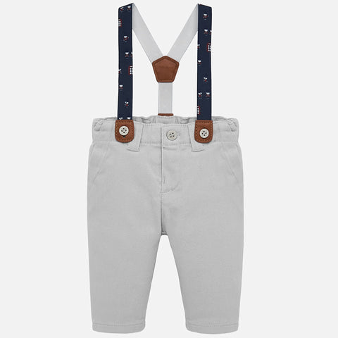 2517 Mayoral Grey Twill Dress Pants With Suspenders