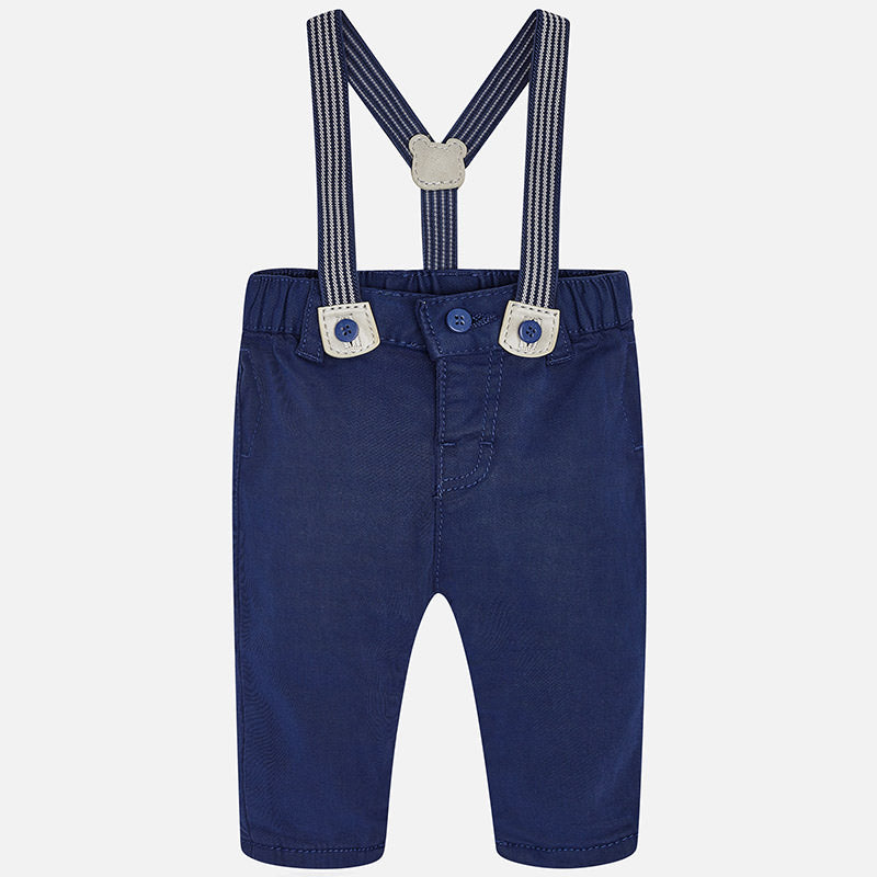 2524 Mayoral Boys Twill Dress Pants w/Removable Suspenders, Navy