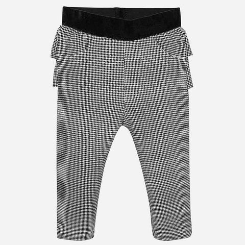 2530 Mayoral Black/White Houndstooth Ruffled Bum Girls Leggings
