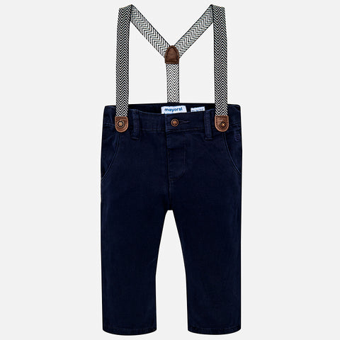 2548 Mayoral Lined Navy Chino Pants With Suspenders