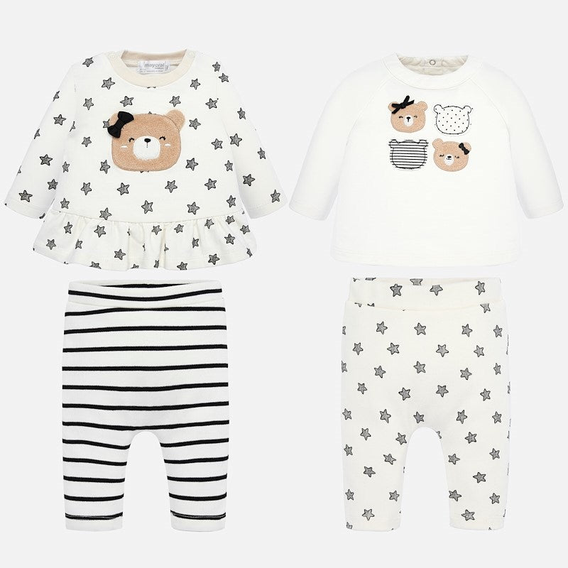 black and white bear loungewear set for baby girls, mayoral 2605