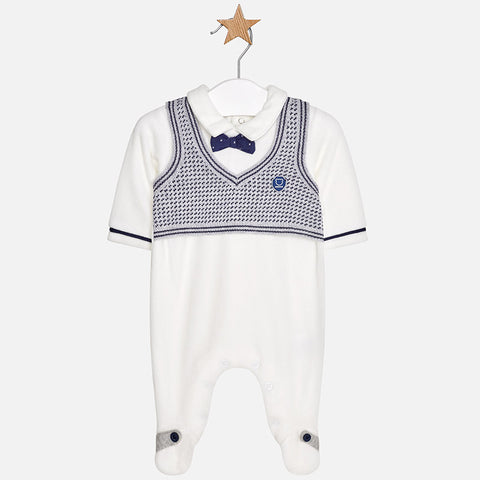 2606 Boys Velour Footie w/Knit Vest & Bowtie, White/Navy