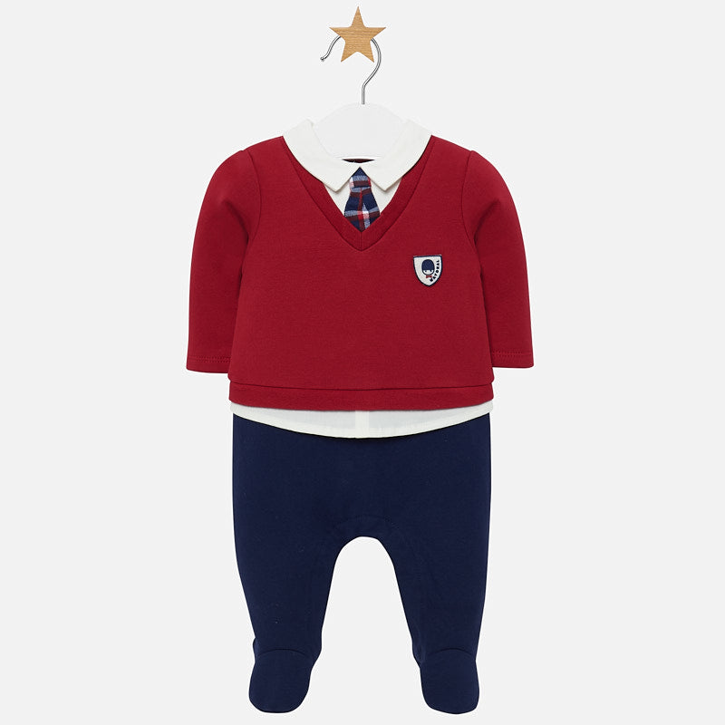 2612 Mayoral Boys Red and Blue Faux Prep School Footie Overall Onesie