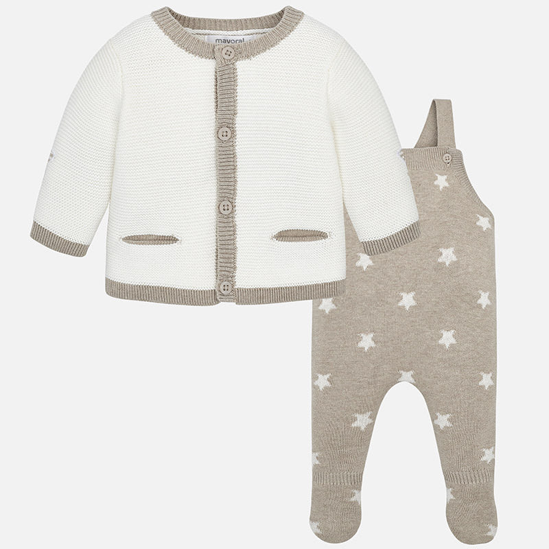 heirloom knit coverall and cardigan, star print, tan, unisex baby layette sweater