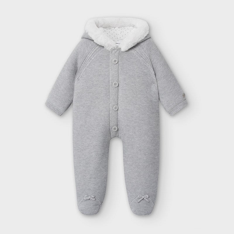 2631 Mayoral Knit Plush Quilted Hooded Footie, Grey