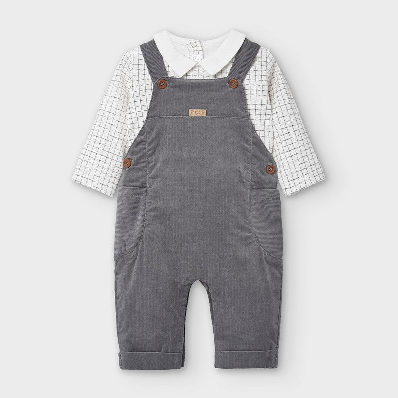 2638 Mayoral Corduroy Overall 2PC Set, Graphite Grey