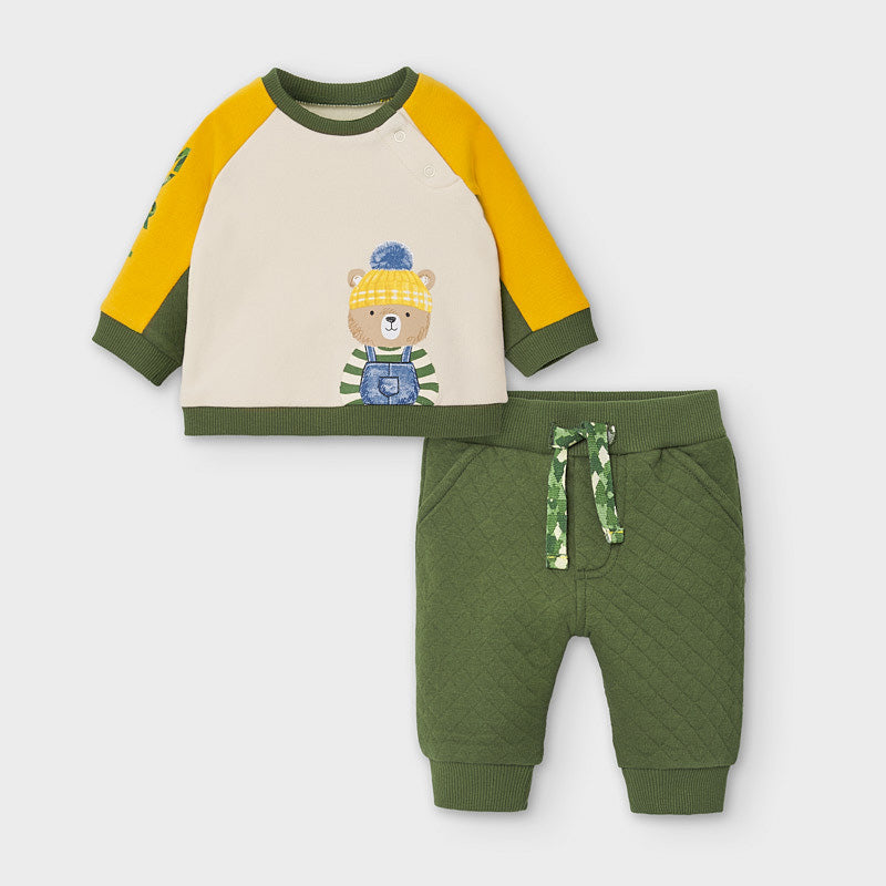 2652 Mayoral Baby Boys Sweat Suit Set, Moss Green Bear