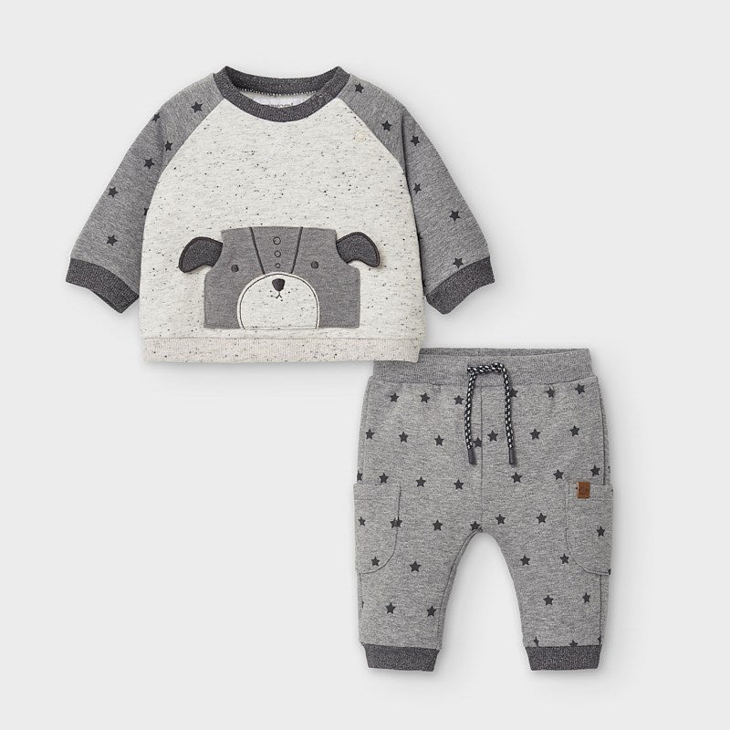 2654 Mayoral Baby Boys Sweat Suit Set, Puppy Stars, Grey