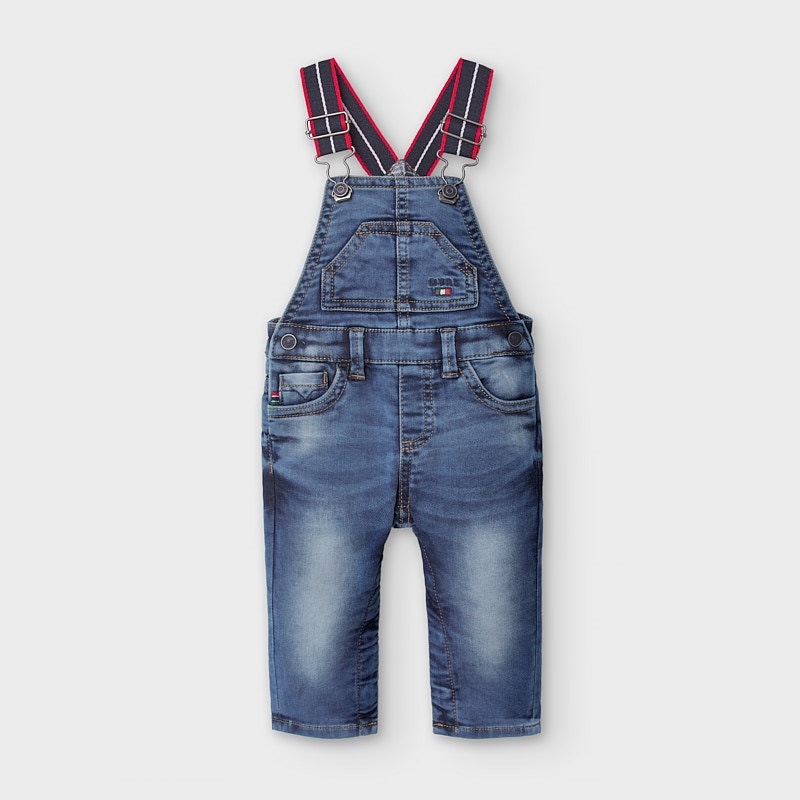2655 Mayoral Boys Denim Overalls, Plaid