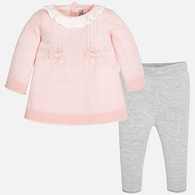 2 PC Set, Mayoral 2700 Pink Knit A-Line Dress & Grey Knit Leggings