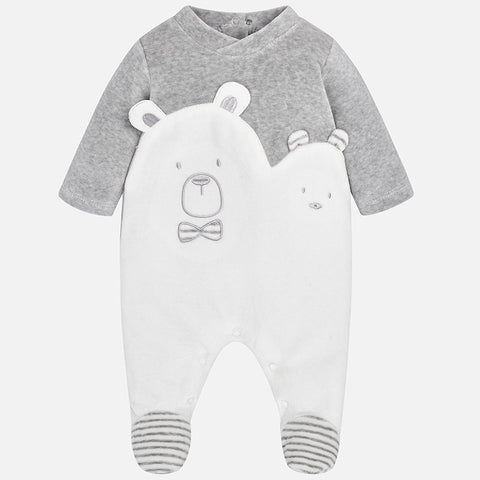2722 Mayoral Spain, Unisex Velour Pajamas, Grey Bear Footie