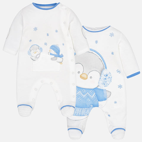 2740 Mayoral Spain, Interlock Pajamas, Baby Boy Footie Penquins - (2 Options)