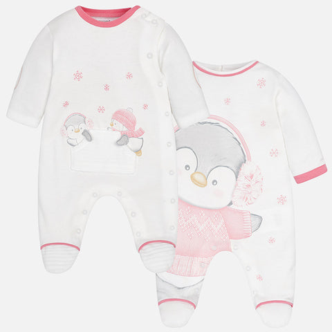 2740 Mayoral Spain, Interlock Pajamas, Baby Girl Footie Penquins - (2 Options)