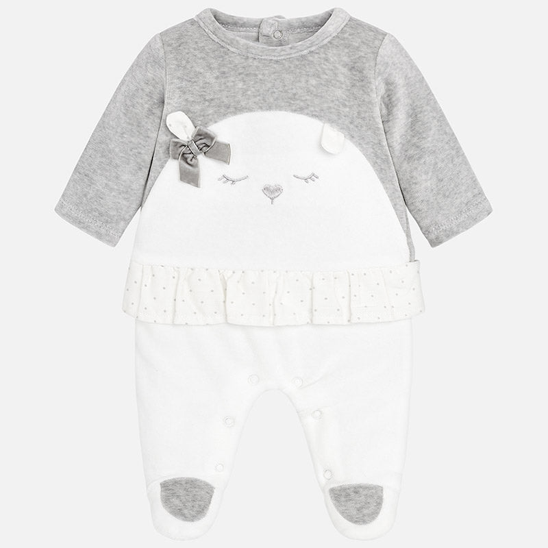 baby girl velour footie pajamas, grey, polar bear, mayoral spain 2754