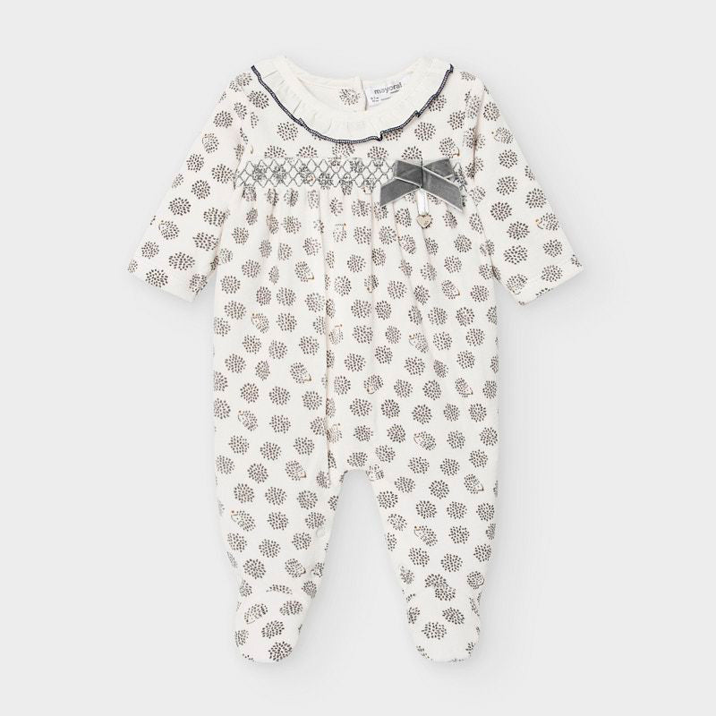 2756 Mayoral Baby Girls Smocked Classic Footie Pajamas - Hedgehog Grey