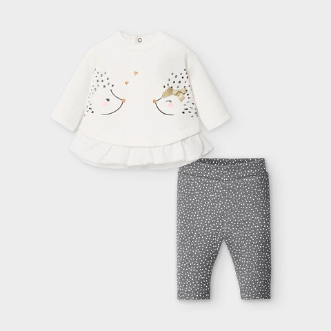2760 Mayoral Baby Girls 2PC Legging & Ruffled Top Set -Hedgehog Grey