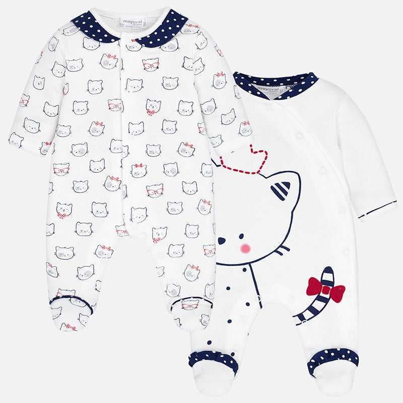 baby girl footie pajamas, royal cat, snap front, navy