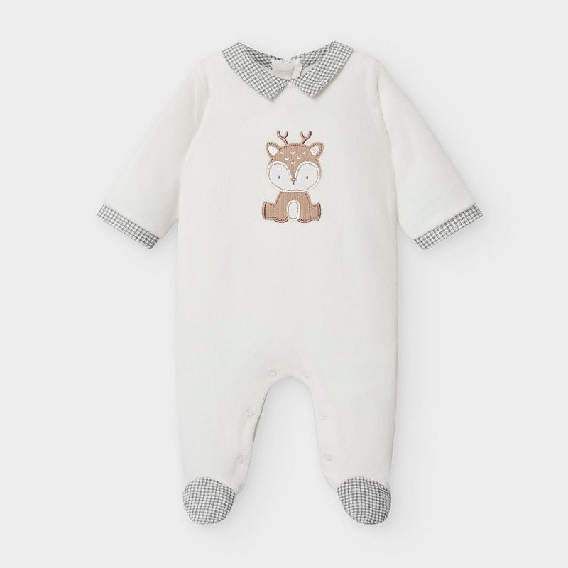 2768 Mayoral Plush Velour Footie, Natural Deer, Unisex