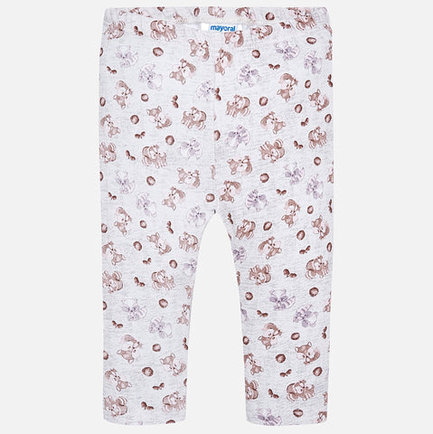2789 Mayoral Girls Squirrel & Fall Motif Stretch Leggings, Grey