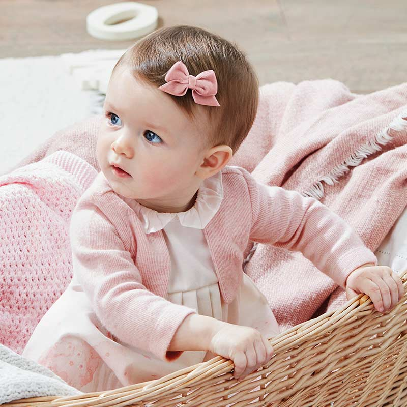 baby girl dress, Mayoral spain 2806, pink with attached cardigan