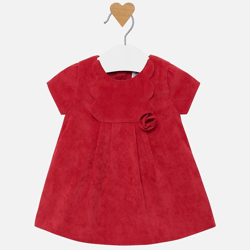 Textured velveteen little red holiday dress for baby girl, rosette, mayoral 2824
