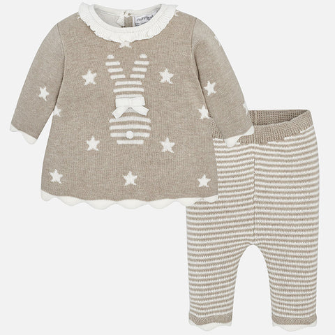 2830 Mayoral Knit Dress & Legging Set, Bunny Stripes