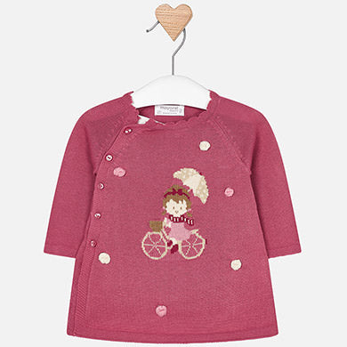 2842 Baby Girls Knit Layered Dress, Bicycle Intarsia, Orchid Pink
