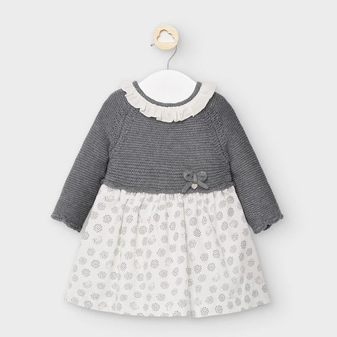 2852 Mayoral Baby Girls Ruffled Knit Dress - Hedgehog Graphite Grey