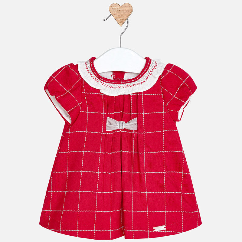 baby girl red holiday plaid dress, velvet bow, Mayoral 2854