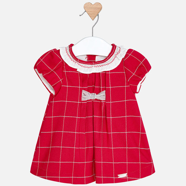 7c36556fc Mayoral 2854 Baby Girl Classic Red Plaid Holiday Dress w/Velvet Bow –  Bubble Belly moms | babies | kids