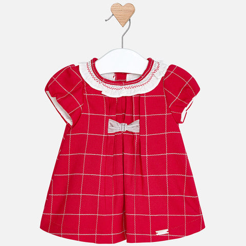 2854 Mayoral Baby Girl Classic Red Plaid Holiday Dress w/Velvet Bow