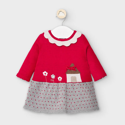 2855 Mayoral Girls Knit & Embroidered Home-Sweet-Home Dress, Red/Grey