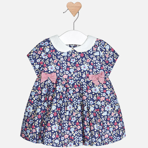 2856 Bluebell Floral Print Dress, Peter Pan Collar