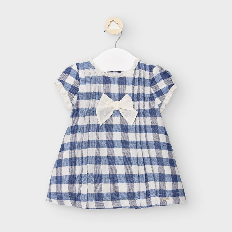 2867 Mayoral Baby Girls Flannel Check French Blue Dress