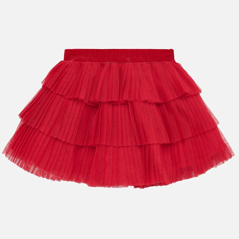 2901 Mayoral Scarlet Pleated Layered Tulle Skirt w/ Sparkle