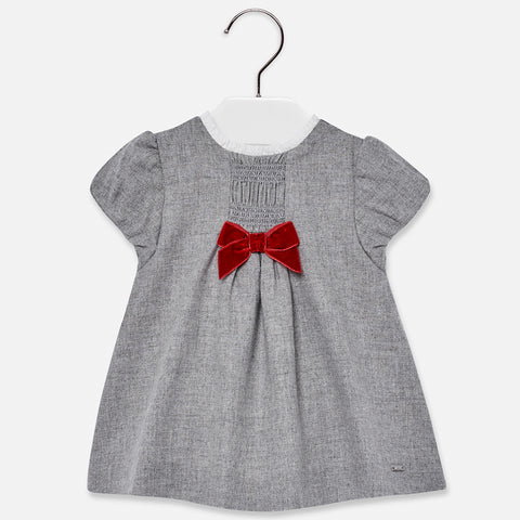 2914 Mayoral Classic Grey Woolen Dress, Velvet Bow