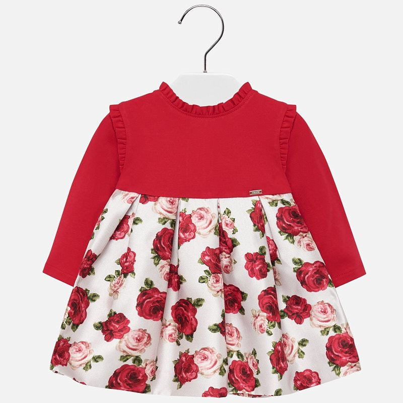 mayoral 2917 scarlet holiday hi-collar rose print dress
