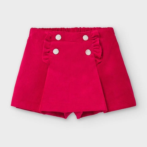 2942 Mayoral Corduroy Skort (Skirt+Shorts), Carmine Red