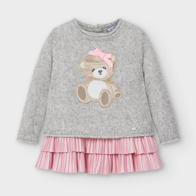2948 Tricot Plush Bear Sweater 2PC Pleated Sparkle Dress