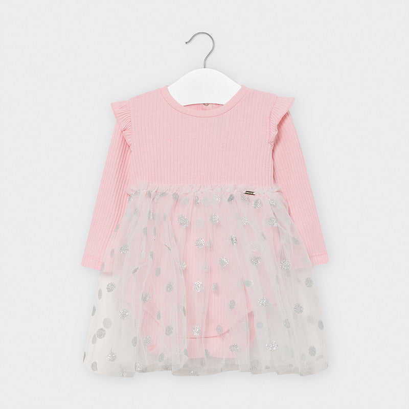 2964 Mayoral Ribbed Bodysuit Twirl Tutu Dress, Blush Pink