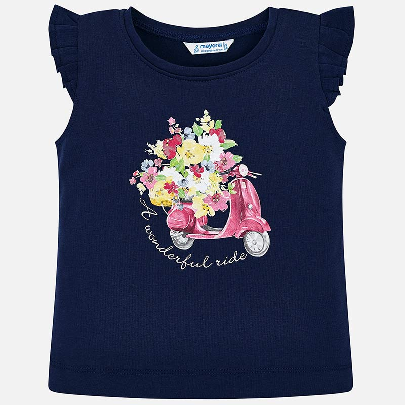girls graphic print tshirt, navy blue, floral print, scooter, italian, french country, mayoral 3023