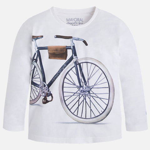 Mayoral 3045 Vintage Bicycle Graphic T-Shirt, White L/S