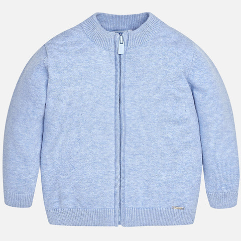 Boys Mayoral 305 Cotton Zip-Up Classic Cardigan, Baby Blue