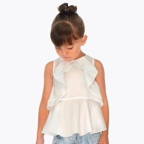 Mayoral 3103 Girls Ruffled Sleeveless Blouse, Soft White