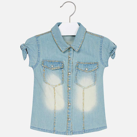 Mayoral 3106 Girls Denim S/S Shirt, Bleached w/Gold Stitching
