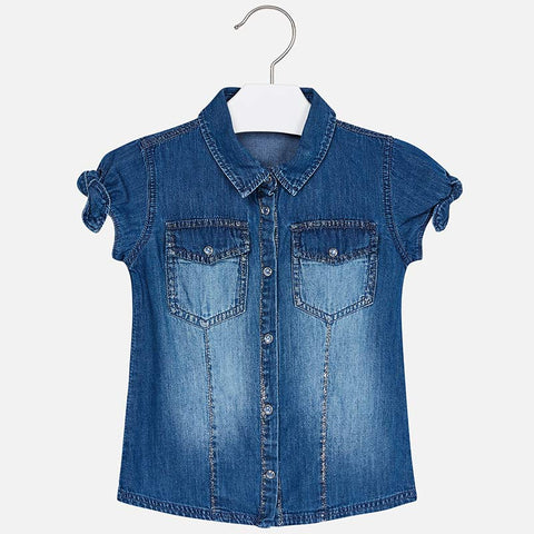 Mayoral 3106 Girls Denim S/S Shirt, Dark Wash & Silver Stitching