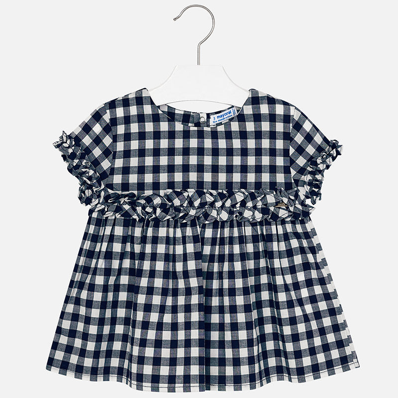 Little girls gingham plaid shirt, navy plaid print and ruffles