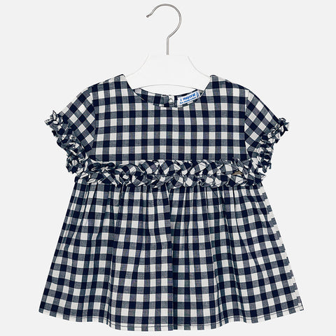 3108 Mayoral Girls Gingham Plaid Ruffled Poplin Shirt, Navy