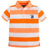 Mayoral 3120 - Boys Striped s/s Polo, Tangerine